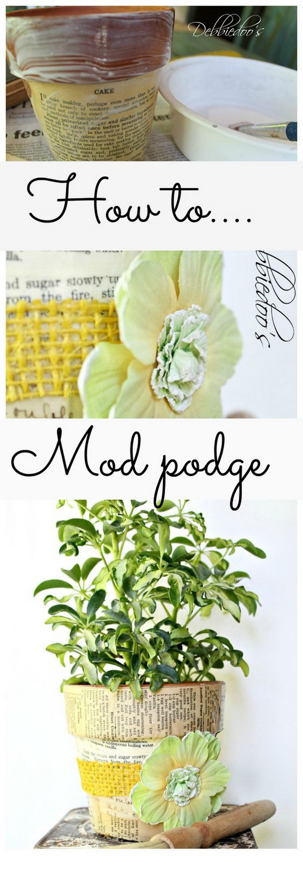 DIY Mod Podge Terra Cotta Pots.
