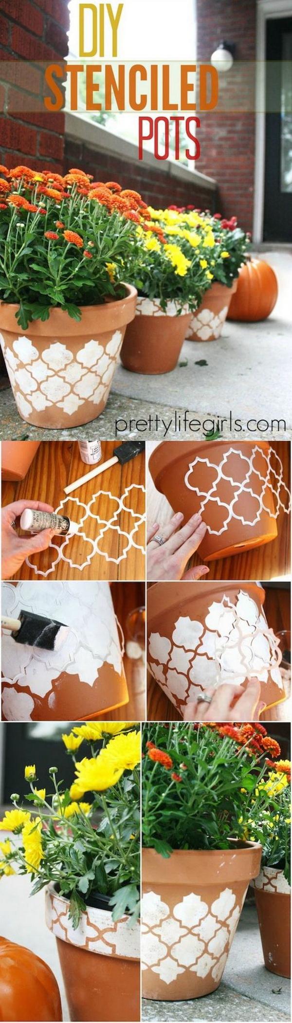 DIY Stenciled Clay Pots.