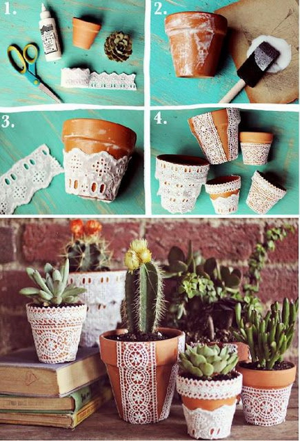 Pretty Lace Flower Pots,