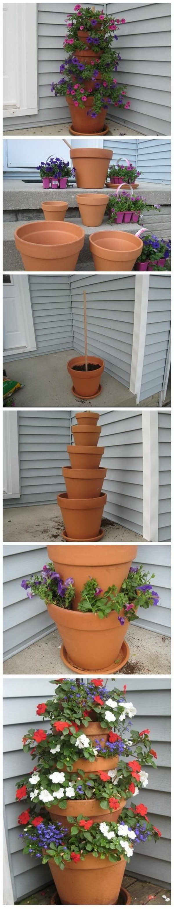 DIY Terra Cotta Pot Flower Garden Tower.