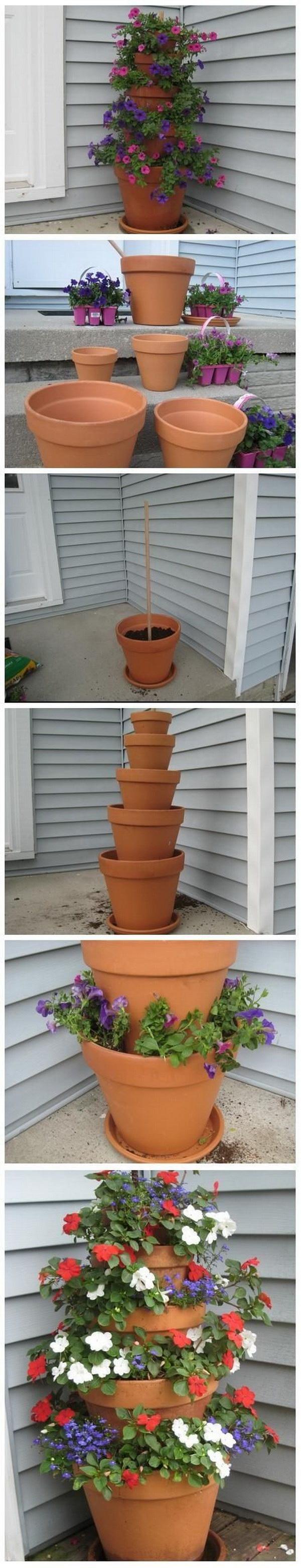 DIY Terra Cotta Pot Flower Garden Tower.