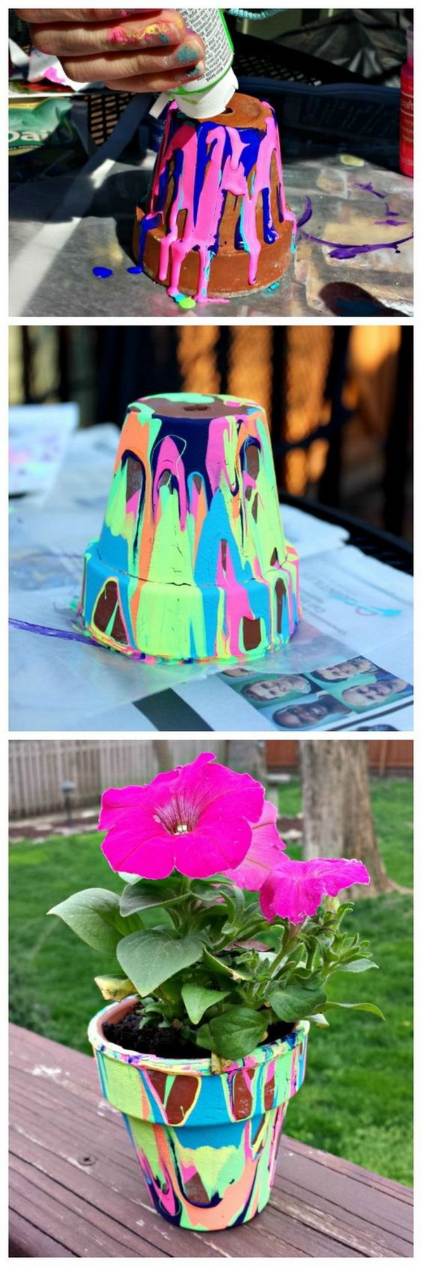 DIY Rainbow Painting Garden Pot: This colorful painting pot will brighten up any yard or room! It makes a perfect gift for Mother'd Day or Teacher'S Day.