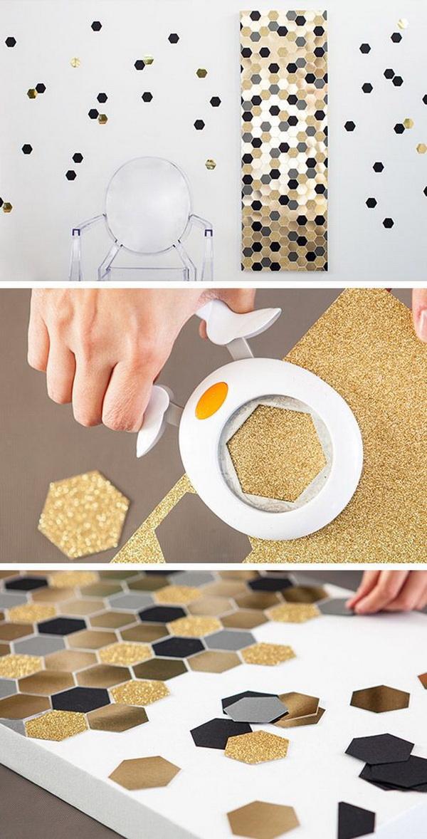 DIY Hexagon Bling Wall Art.