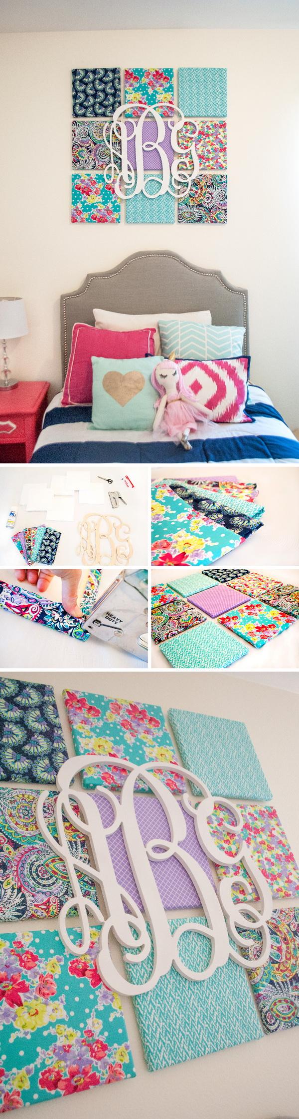 DIY Fabric  Canvas and Monogram Wall Art.