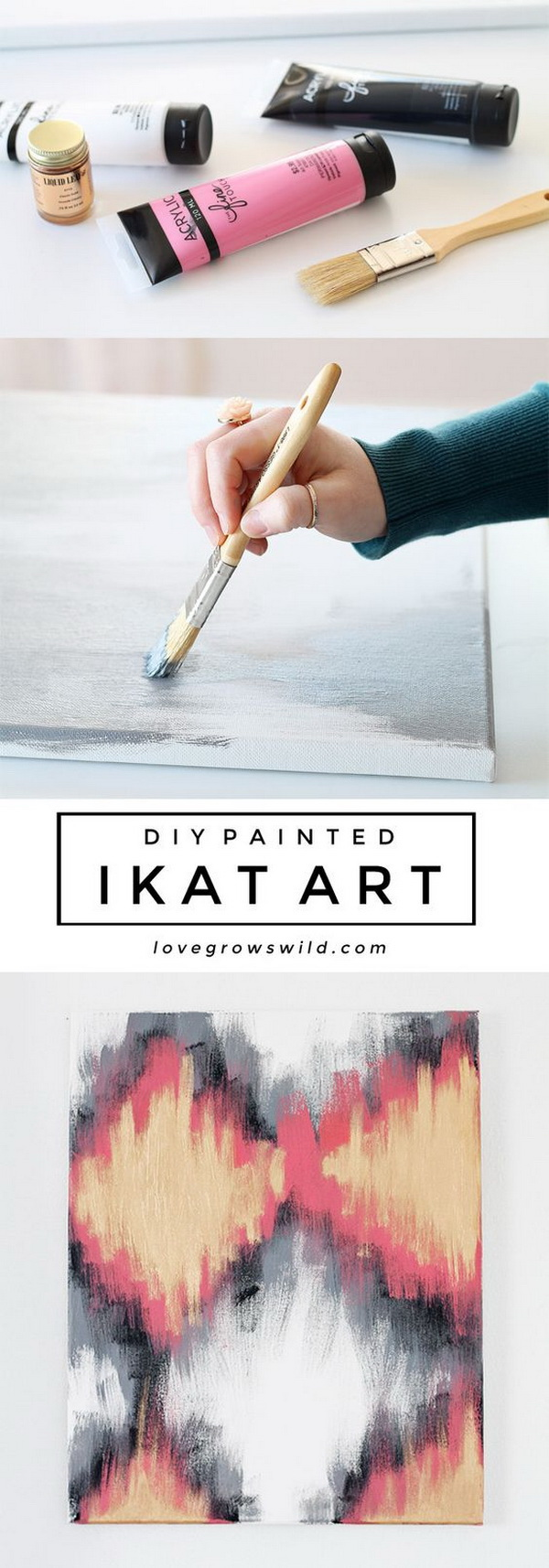 DIY Painted Ikat Art.