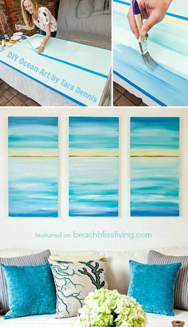 DIY Ocean Canvas Art.