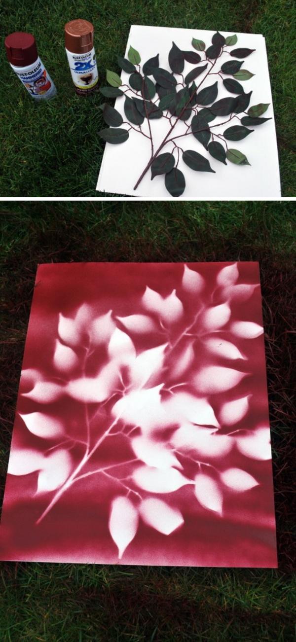 DIY Spray Paint Leaf Art.