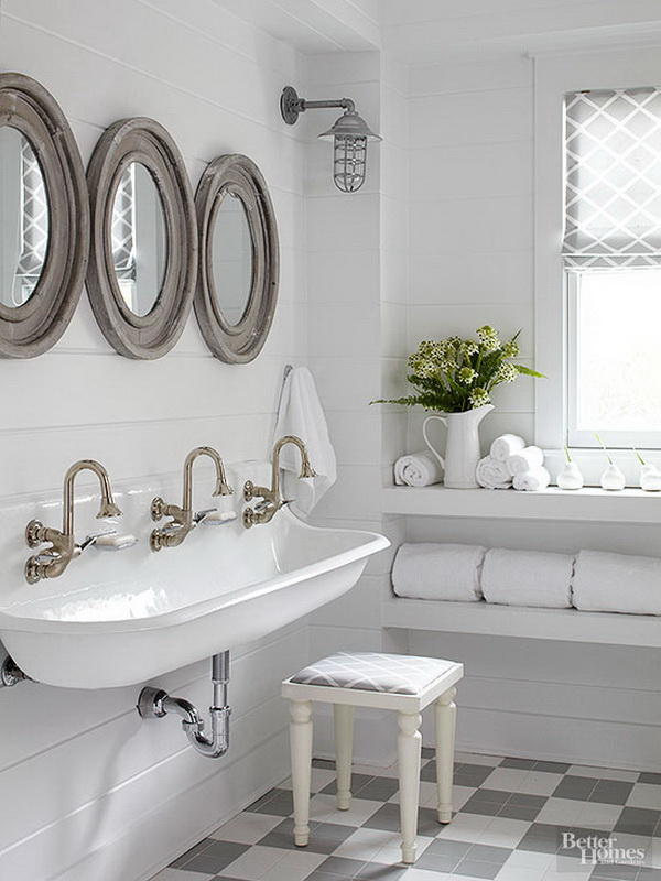 Country Cottage Bathroomwith Porthole Shape Mirrors Caged Ship Lights And The Wood