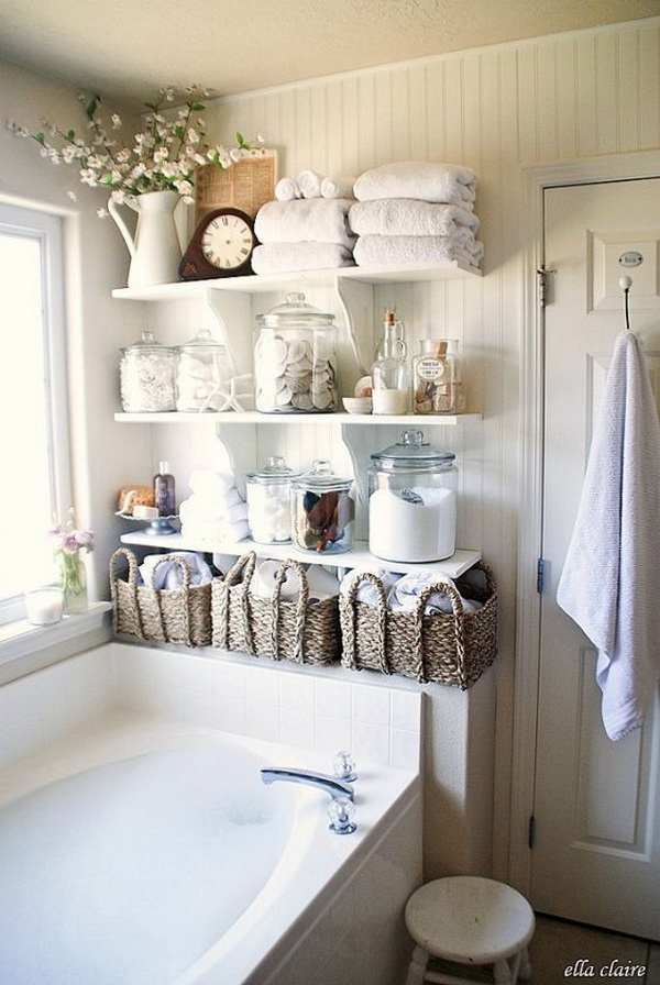 Love the versatile shelving for an organized and tidy bathroom! This rustic, coastal look is timeless!