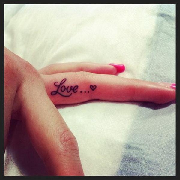 Love Finger Tattoo Design.