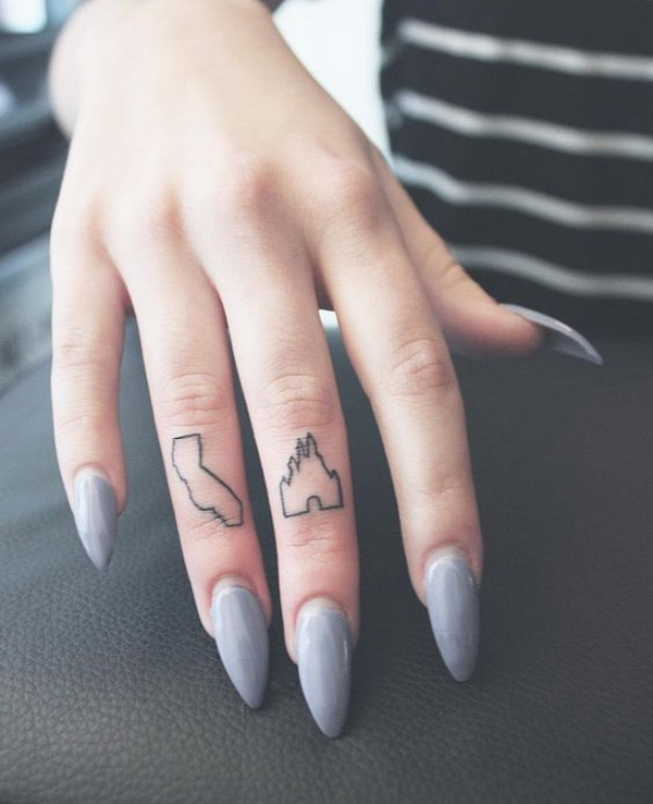 Cute Little California and Disney Castle Finger Tattoo.