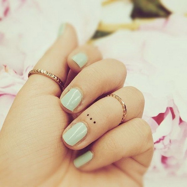 Simple Dots Tattoo On Finger.
