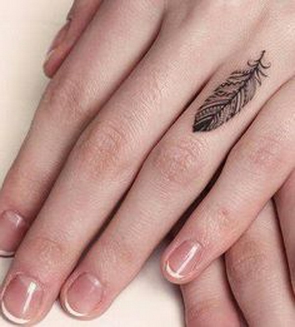 Feather Finger Tattoo for Women.