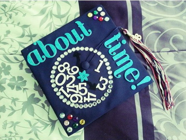 About Time Graduation Cap Decorated with Colorful Gems. 30+ Awesome Graduation Cap Decoration Ideas.