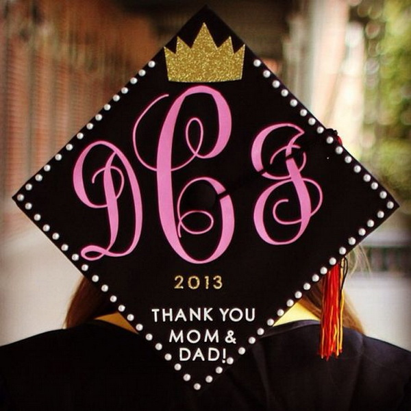 ZTA Graduation Cap with a Gold Glittery Crown. 30+ Awesome Graduation Cap Decoration Ideas.