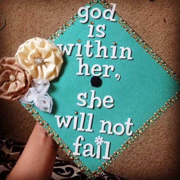 Shabby Chic Fabric Flowers on Graduation Cap. 30+ Awesome Graduation Cap Decoration Ideas.