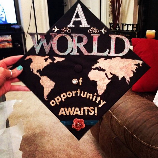 Travel Themed Graduation Cap. 30+ Awesome Graduation Cap Decoration Ideas.