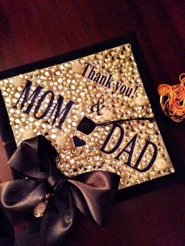 Sparkly Graduation Cap with A Big Bow. 30+ Awesome Graduation Cap Decoration Ideas.