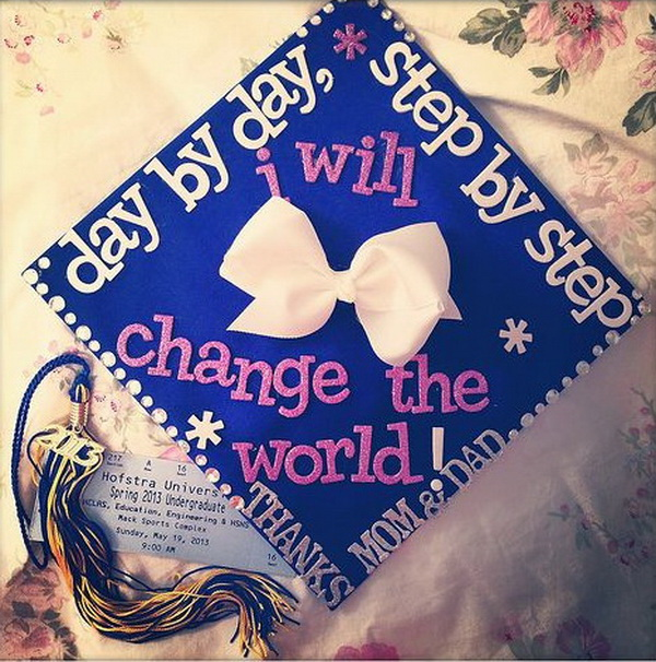 Graduation Cap Decoration with a Cute White Bow. 30+ Awesome Graduation Cap Decoration Ideas.