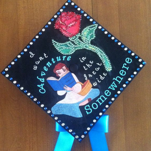 Beauty and the Beast Themed Graduation Cap. 30+ Awesome Graduation Cap Decoration Ideas.