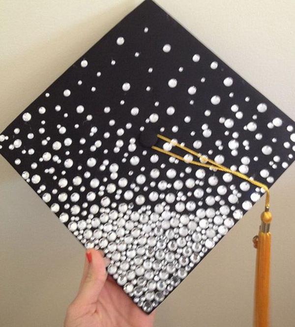 Blinged Out Graduation Cap---40+ Awesome Graduation Cap Ideas.