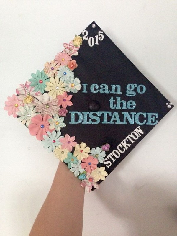 Pastel Flowers Decorated Graduation Cap---40+ Awesome Graduation Cap Ideas.