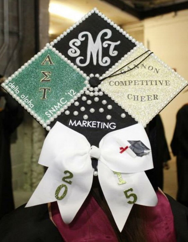 Pearl Decorated Graduation Cap with A Cute White Bow---40+ Awesome Graduation Cap Ideas.