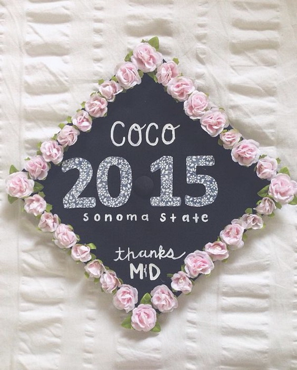 College Graduation Cap Decoration Idea With Pink Flower Boarder---40+ Awesome Graduation Cap Ideas.