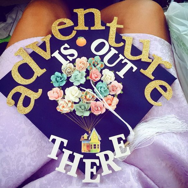 Adventure Is Out There with Flying Balloons In Center---40+ Awesome Graduation Cap Ideas.