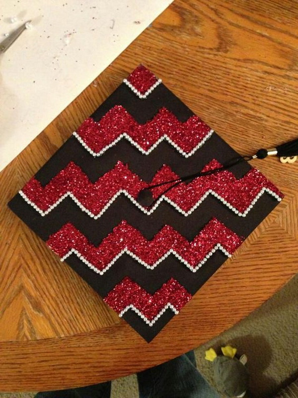 Graduation Cap with Red Rhinestones on the edge of the Chevron---40+ Awesome Graduation Cap Ideas.