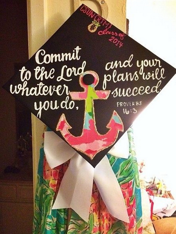 Fabric Anchor Decorated Graduation Cap---40+ Awesome Graduation Cap Ideas.
