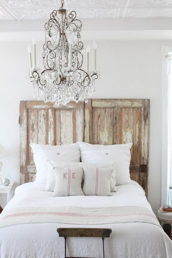 Old Fashioned Chandelier and Old Door Repurposed Headboard.