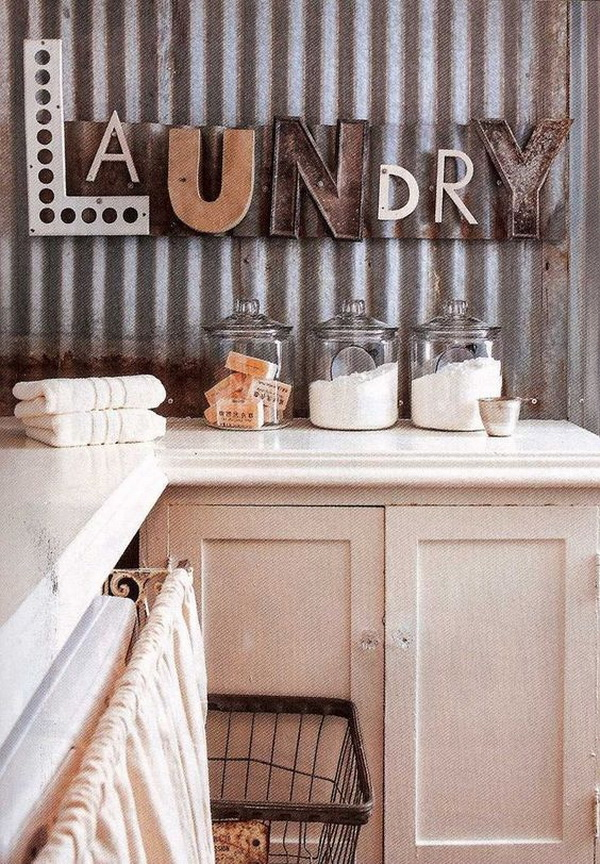 Corrugated Metal Wall in the Laundry Room.