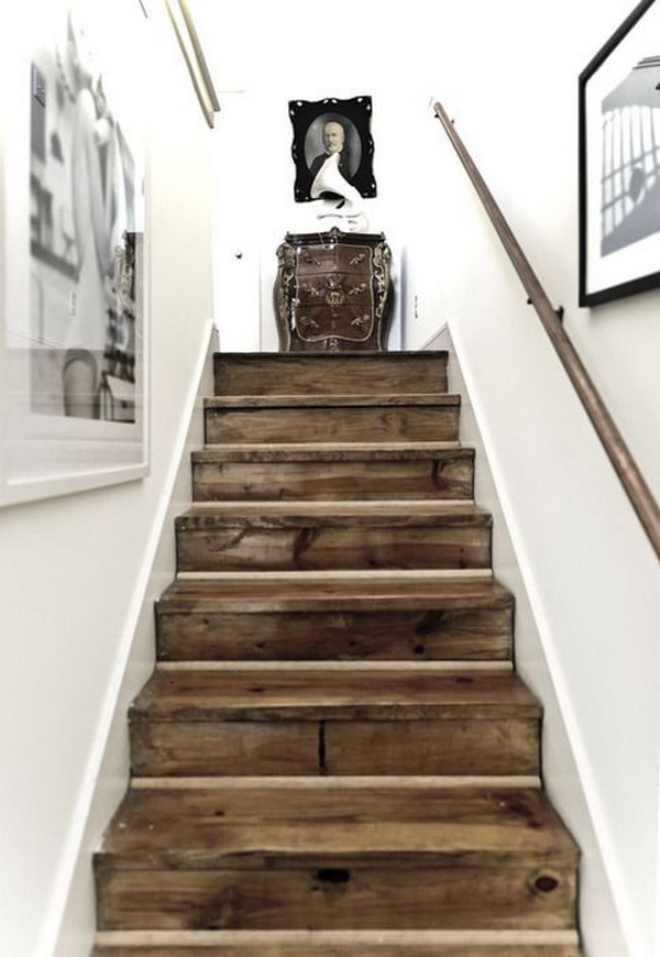 Gorgeous Reclaimed Barn Wood Stairs.