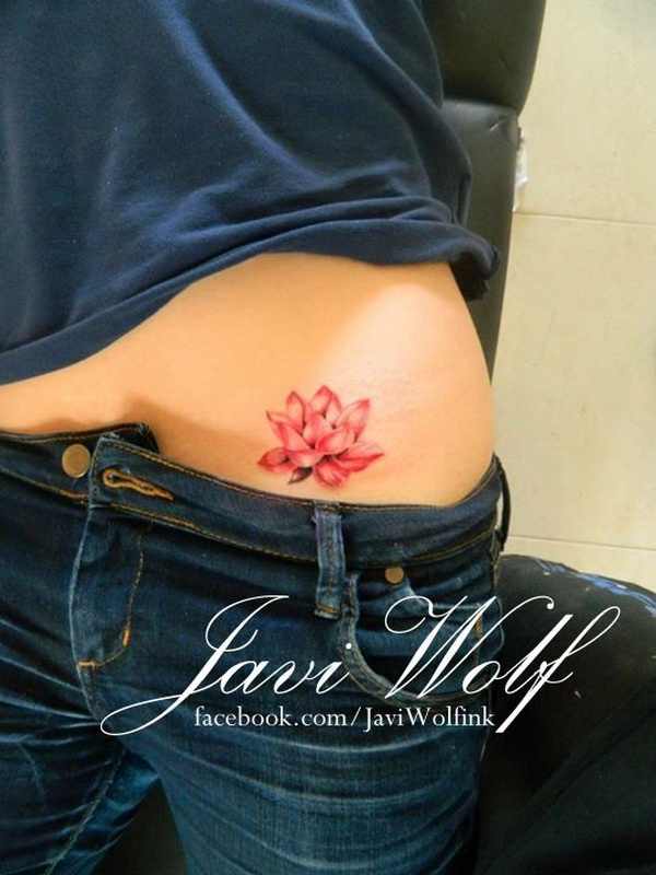 Red Lotus Flower Tattoo Deisgn para Mujeres.