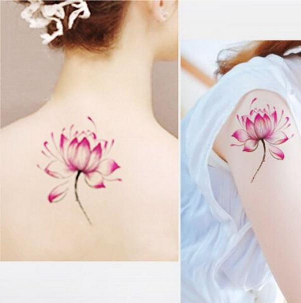 Beautiful Lotus Tattoos on Sleeve or Back for Girls.