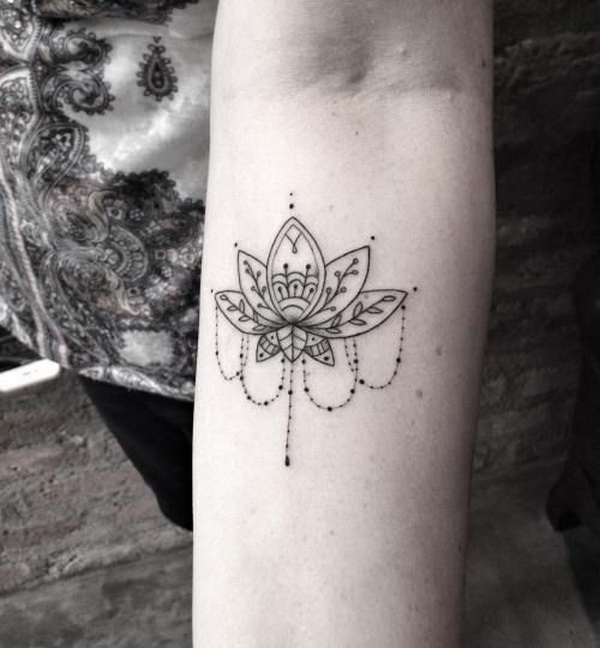 Lotus Flower with Jewelry Tattoo.