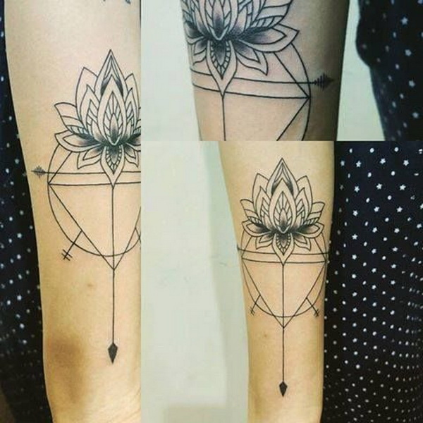 Geometric Lotus Tattoo.