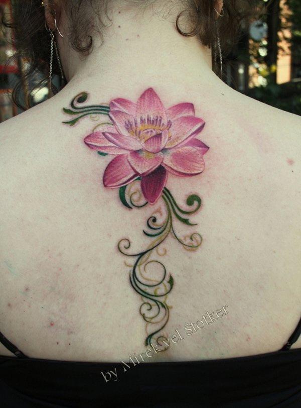 Pink Lotus Tattoo on Back.