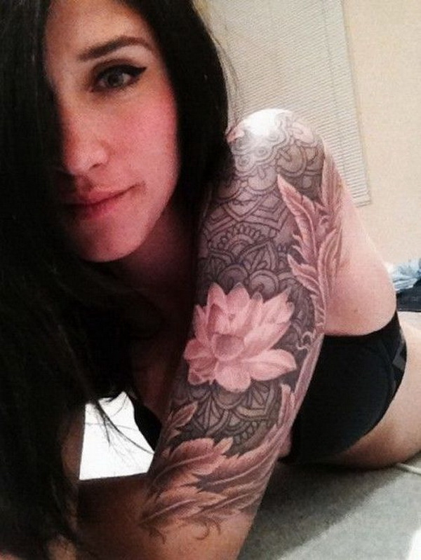 Lotus Sleeve Tattoo Designs For Women.