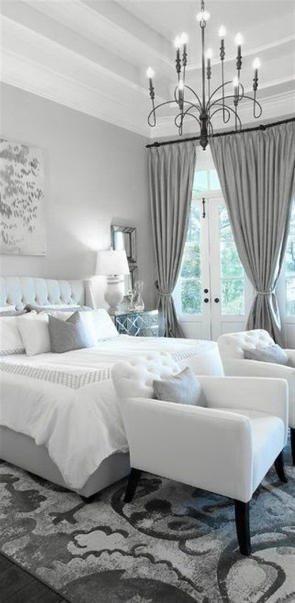Dove Gray and white master bedroom interior design.