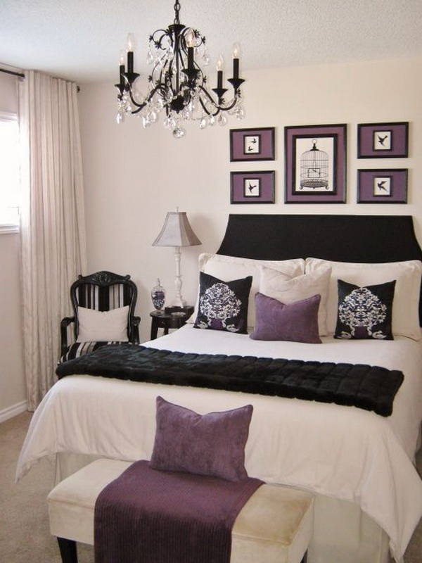 Purple and creamy white master bedroom interior design.