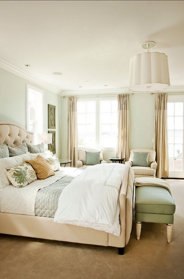 Refreshing master bedroom. The paint color for this gorgeous master bedroom is 'SW6204 Sea Salt' by Sherwin Williams - Love this tranquil color!