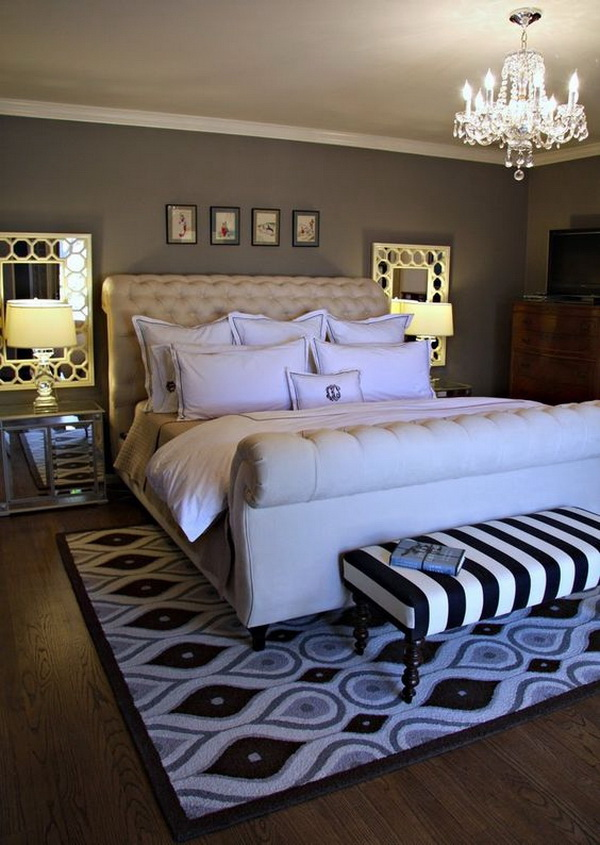 Black, White and Grey Master Bedroom. Love the idea of placing mirrors behind twin night-table lamps. It can reflect light and help brighten a room. Good idea for a darker wall color.