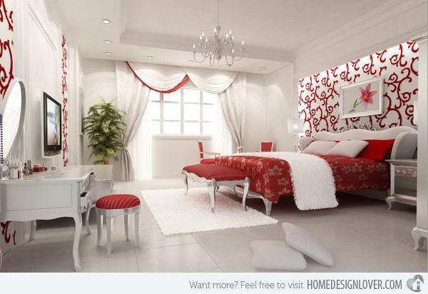 Red on white master bedroom. Splashes of red can create a touch of charm, romance and elegance on a white base in this stunning master bedroom.