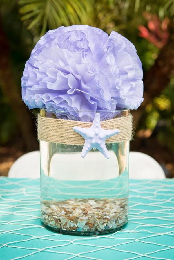 Mason Jar Centerpiece for Whimsical Mermaid Themed Party