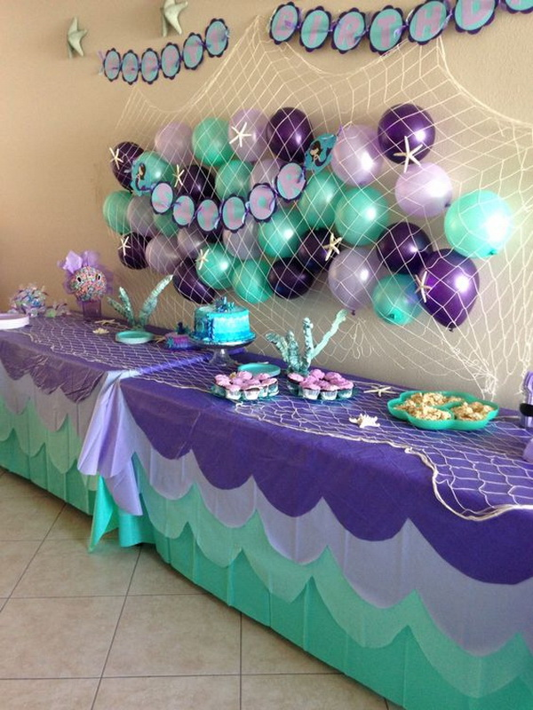 Party Decoration Based on Purple and Teal Color Scheme.