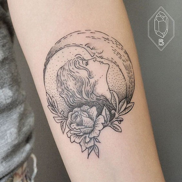 Stylish Moon Tattoo.