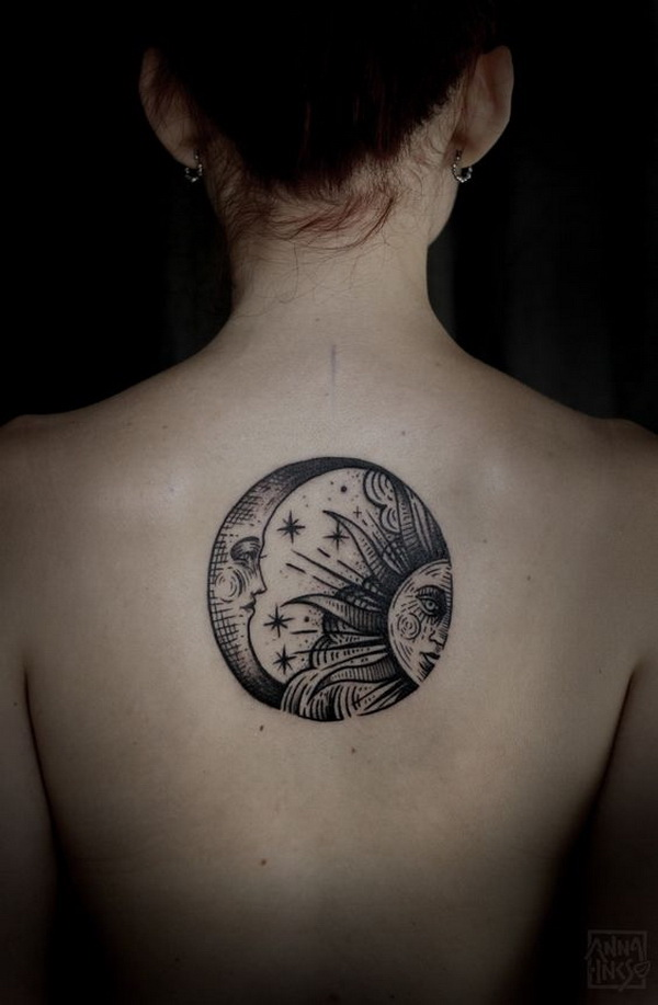 Beautiful Moon And Sun Back Tattoo.