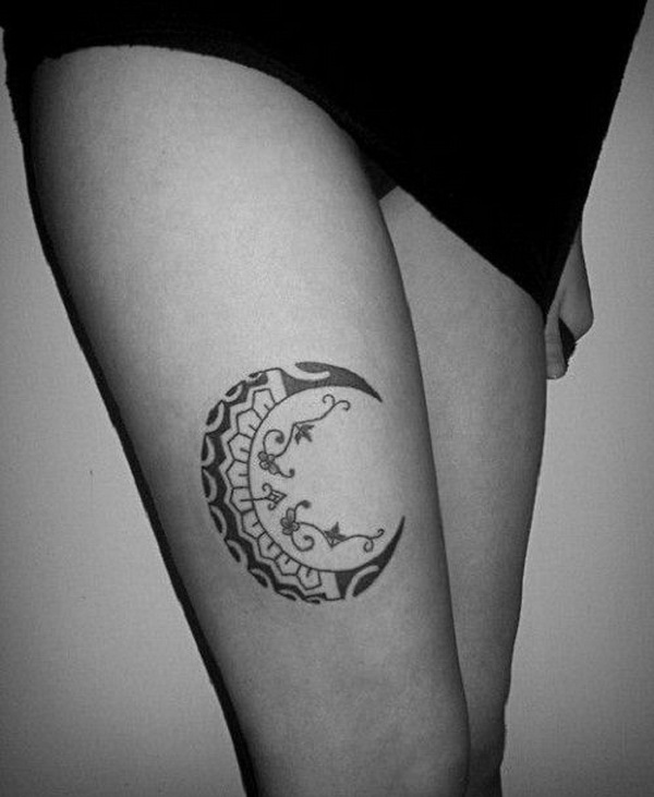 Leg Crescent Moon Tattoo.